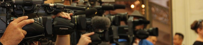 Cameras from a Dec. 2012 news conference relating to the federal constitutional challenge to Prop 8.